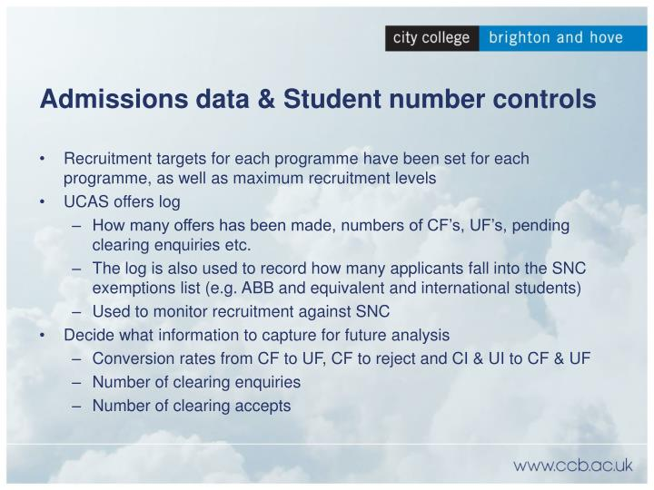 Admissions data & Student number controls