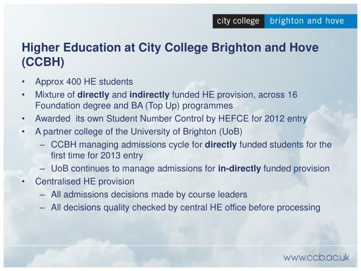 Higher Education at City College Brighton and Hove (CCBH)