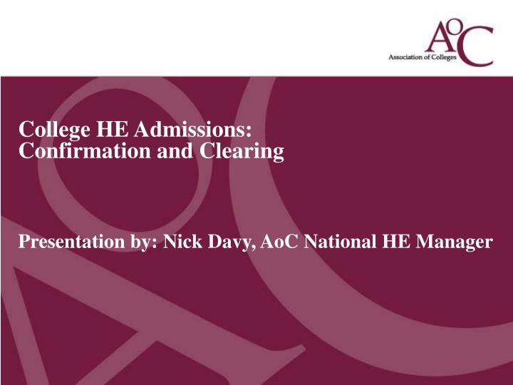 College HE Admissions: