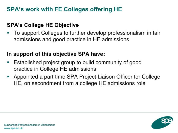 SPA's work with FE Colleges offering HE