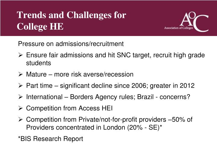 Trends and Challenges for College HE