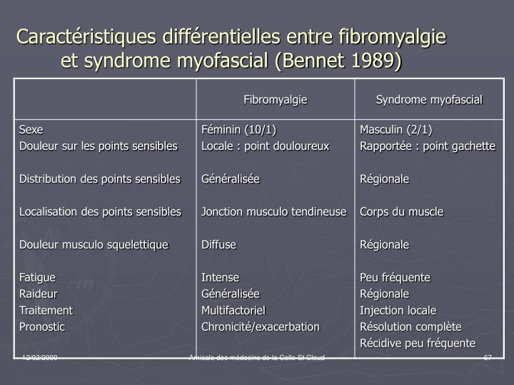 Caractéristiques différentielles entre fibromyalgie et syndrome myofascial (Bennet 1989)