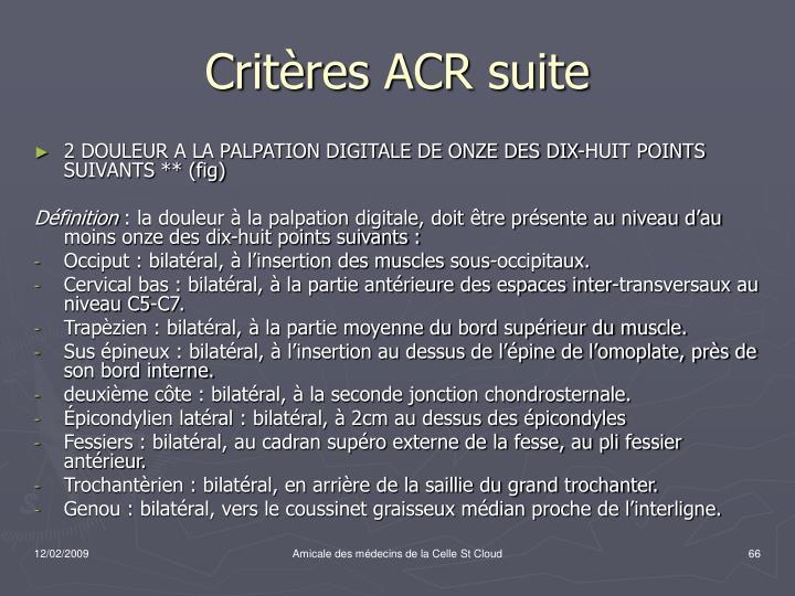 Critères ACR suite