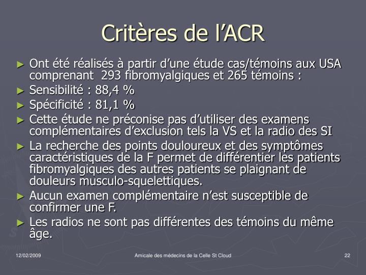 Critères de l'ACR