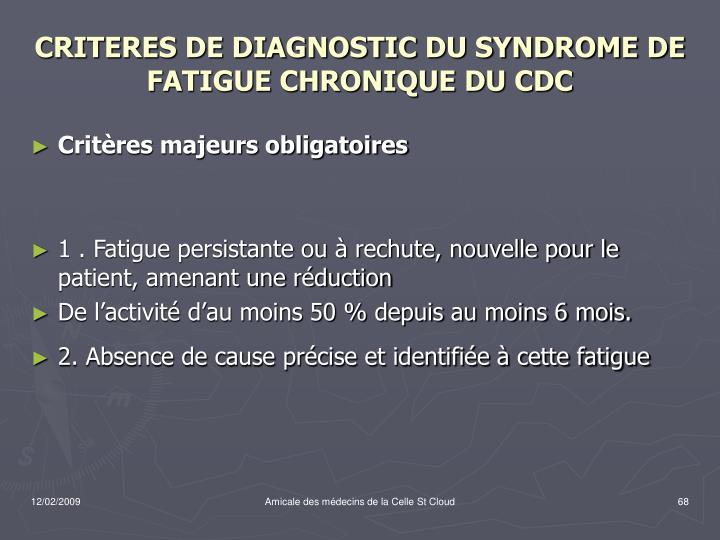 CRITERES DE DIAGNOSTIC DU SYNDROME DE FATIGUE CHRONIQUE DU CDC