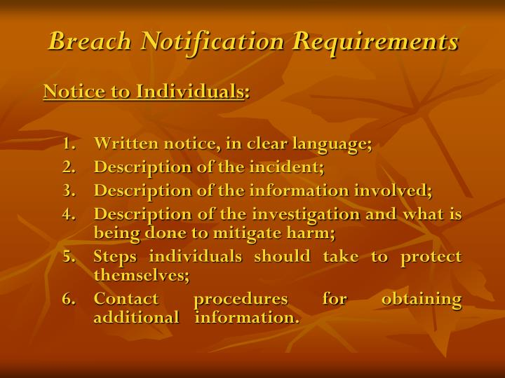 Breach Notification Requirements