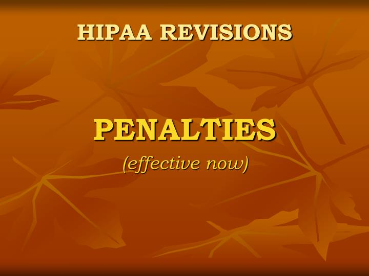 HIPAA REVISIONS