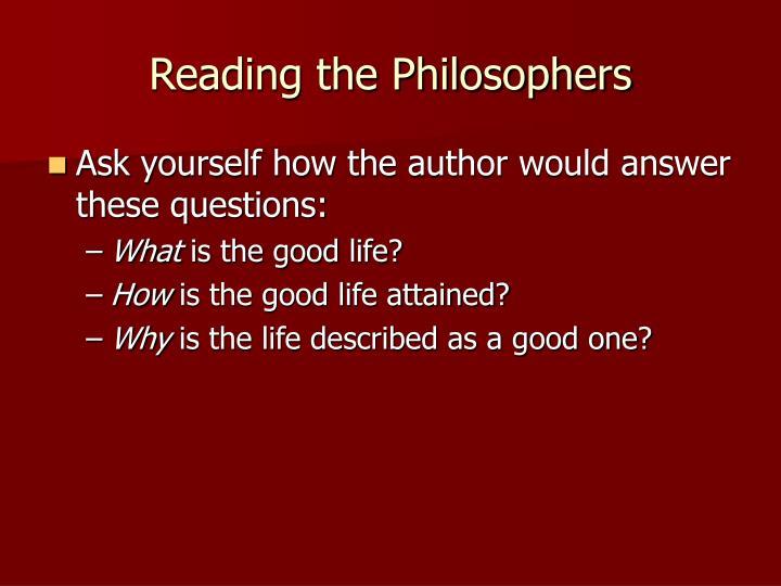Reading the Philosophers