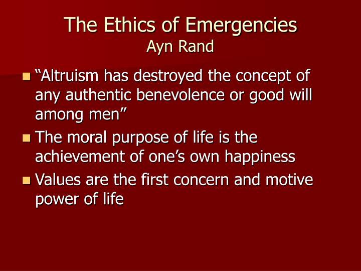 The Ethics of Emergencies