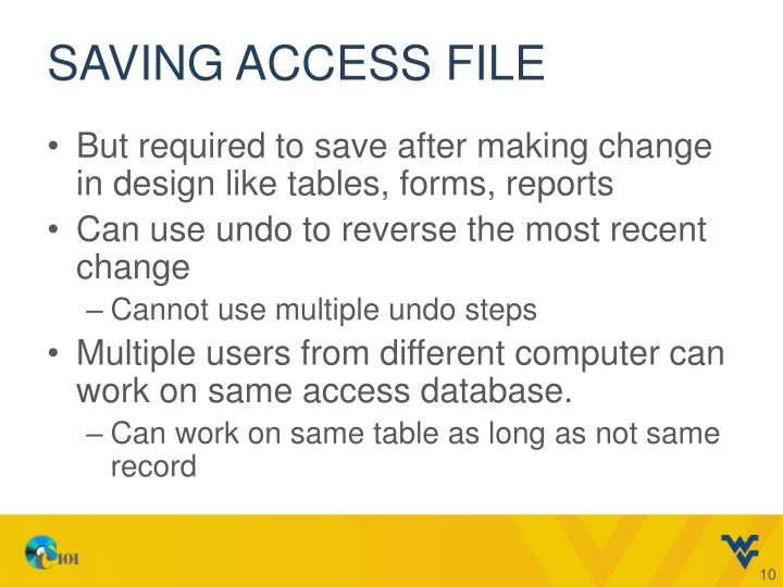 Saving access file