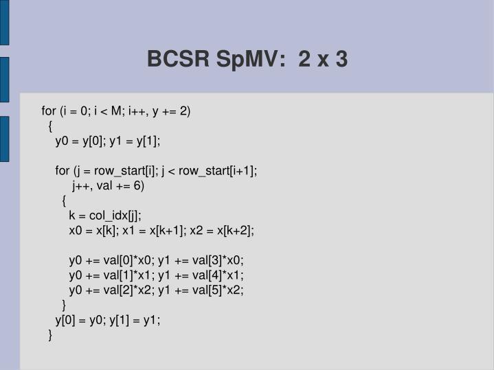 BCSR SpMV:  2 x 3