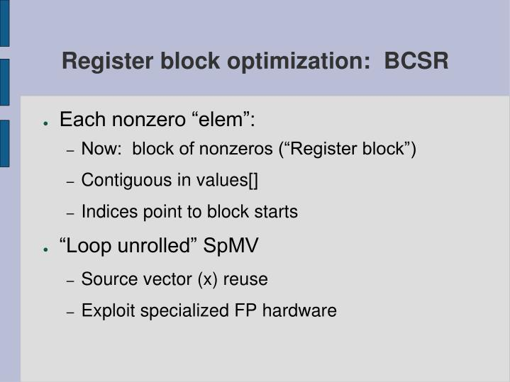 Register block optimization:  BCSR