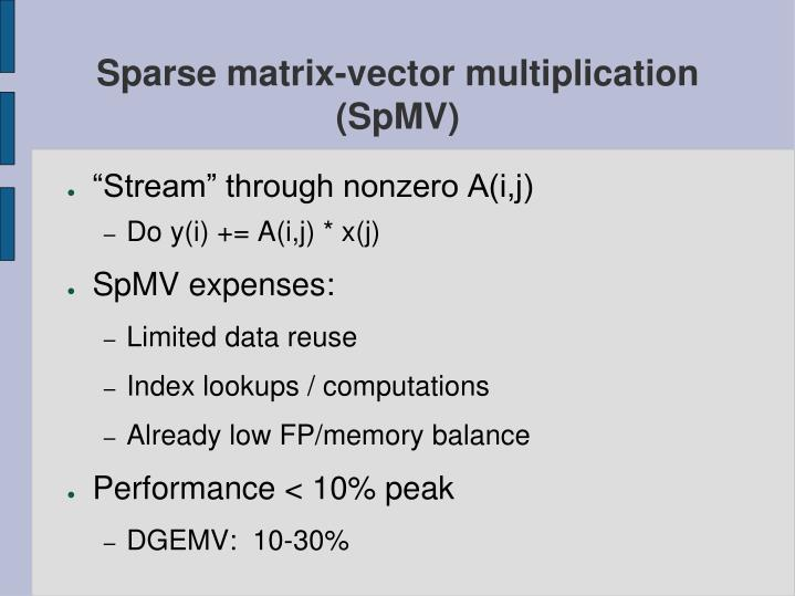 Sparse matrix-vector multiplication (SpMV)