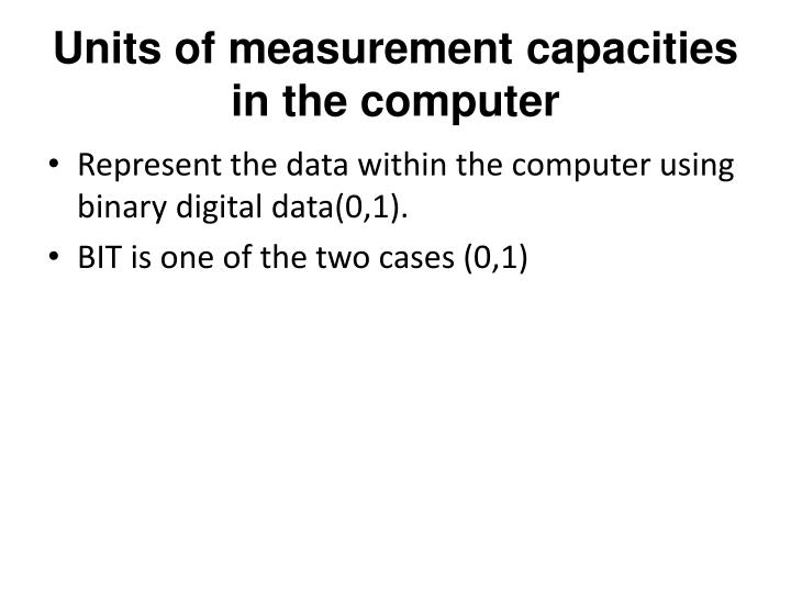 Units of measurement capacities in the computer