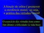 a fun o do ethos promover a excel ncia moral ou seja a pr tica das virtudes aret