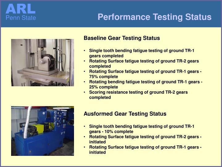 Performance Testing Status