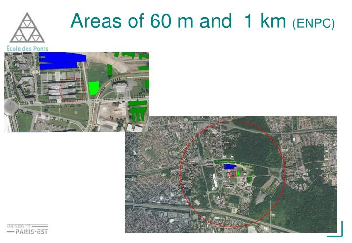 Areas of 60 m and  1 km