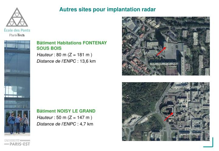 Autres sites pour implantation radar
