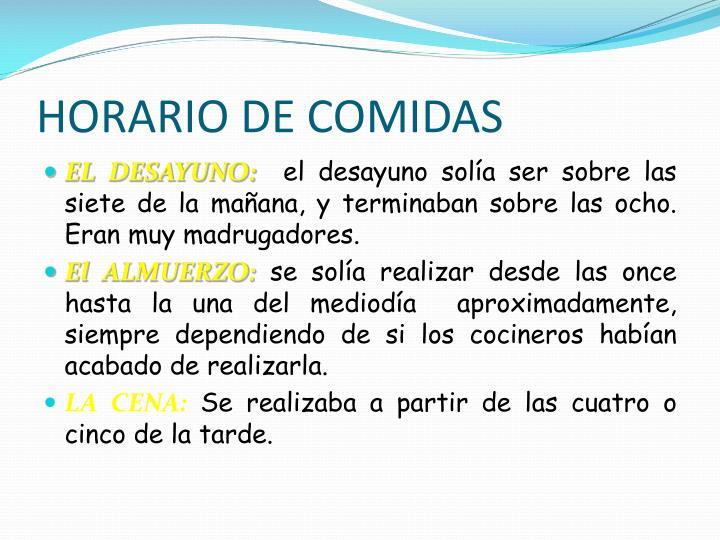 HORARIO DE COMIDAS