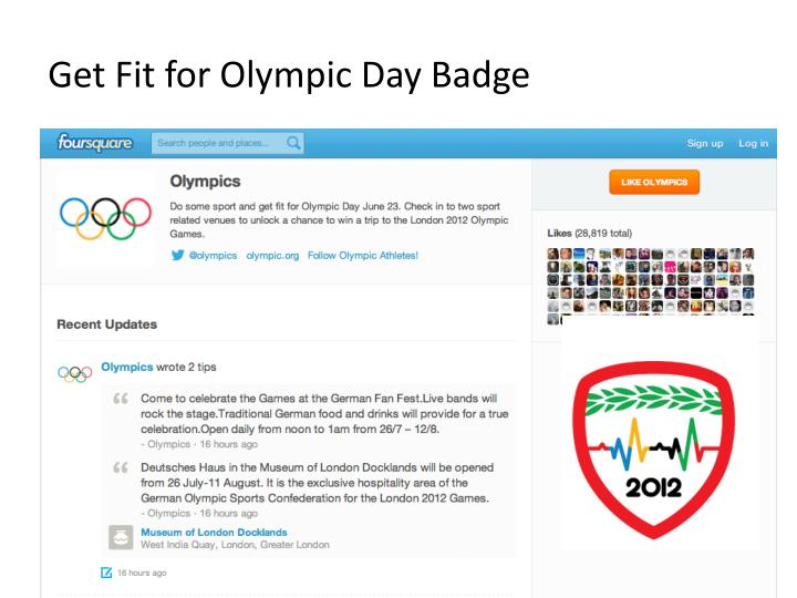 Get Fit for Olympic Day Badge