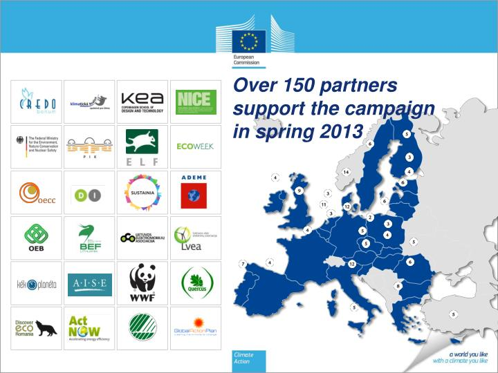 Over 150 partners support the campaign in spring 2013