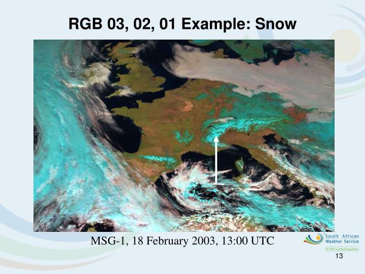 RGB 03, 02, 01 Example: Snow