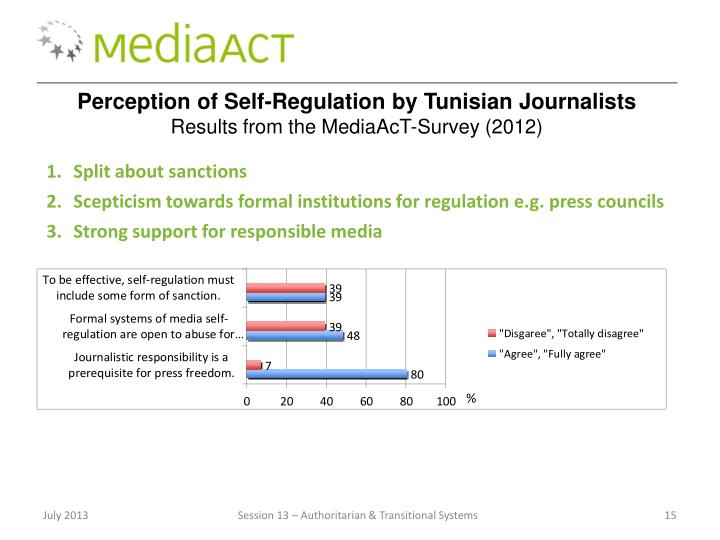 Perception of Self-Regulation by Tunisian Journalists