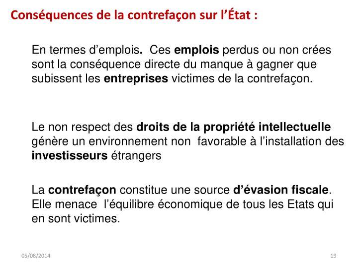 Conséquences de la contrefaçon sur l'État: