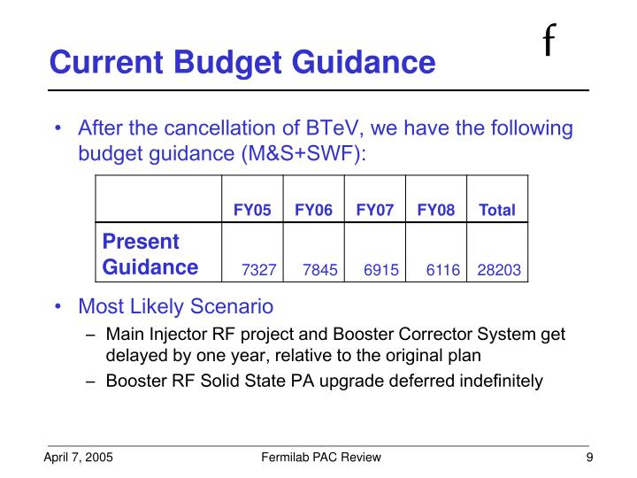 Current Budget Guidance