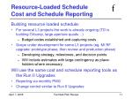 resource loaded schedule cost and schedule reporting