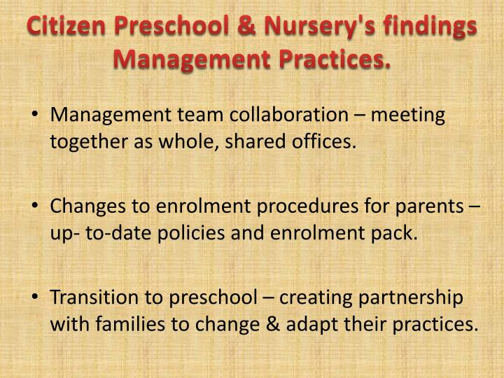 Citizen Preschool & Nursery's findings