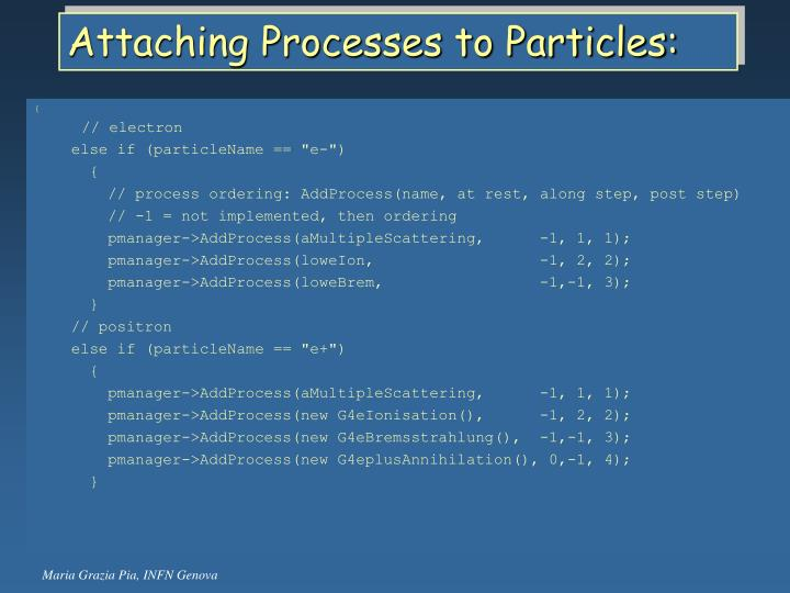 Attaching Processes to Particles: