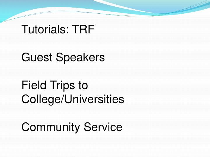 Tutorials: TRF