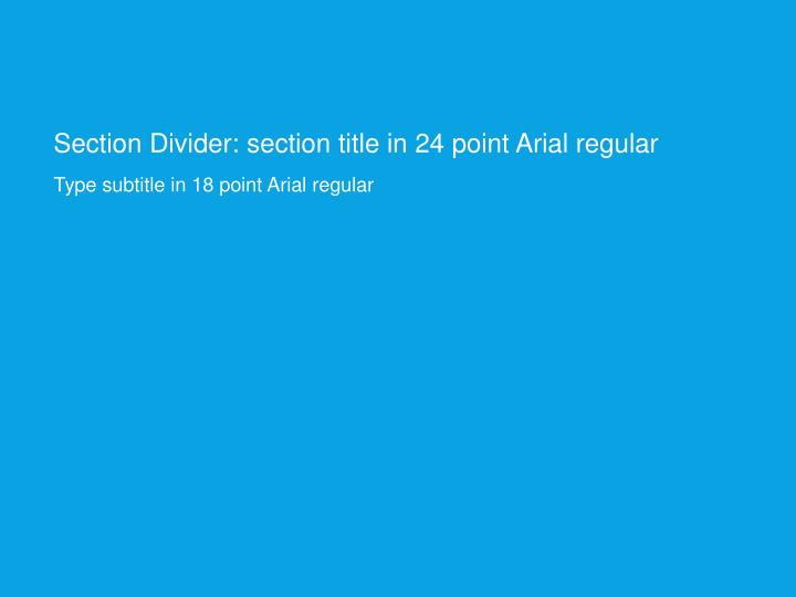 Section Divider: section title in 24 point Arial regular