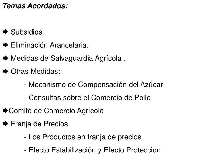 Temas Acordados: