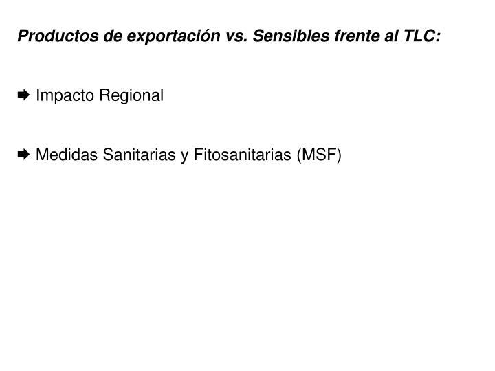 Productos de exportación vs. Sensibles frente al TLC:
