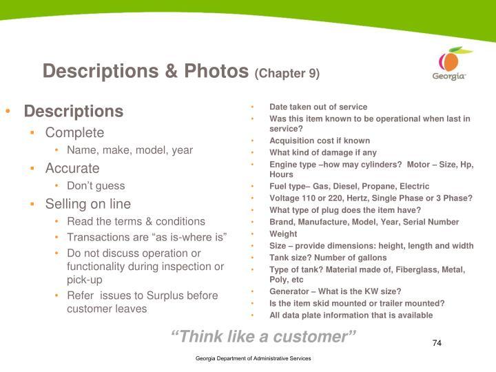 Descriptions & Photos