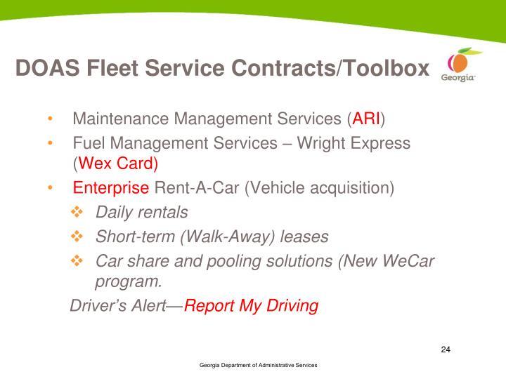 DOAS Fleet Service Contracts/Toolbox