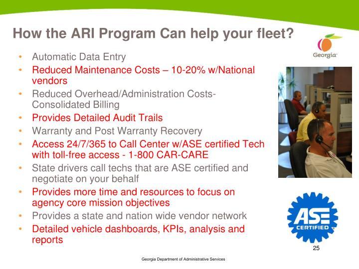 How the ARI Program Can help your fleet?
