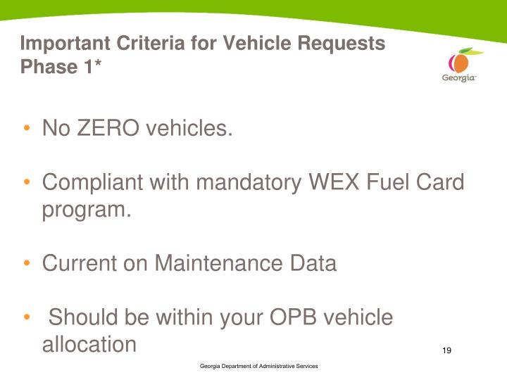 Important Criteria for Vehicle Requests