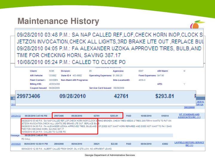 Maintenance History