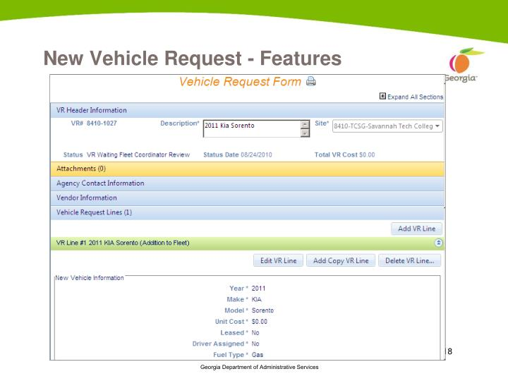 New Vehicle Request - Features