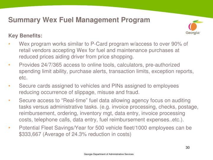 Summary Wex Fuel Management Program