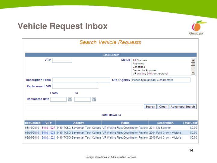 Vehicle Request Inbox