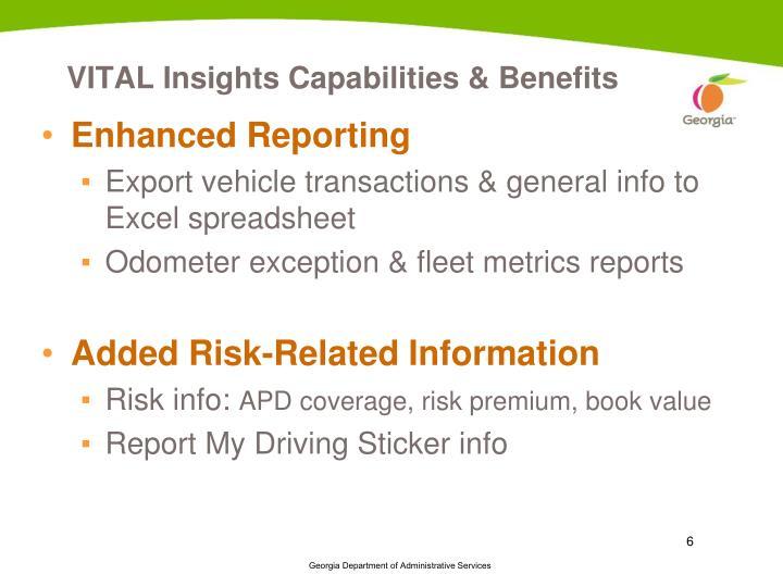 VITAL Insights Capabilities & Benefits