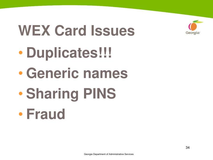 WEX Card Issues