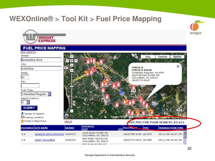 WEXOnline® > Tool Kit > Fuel Price Mapping