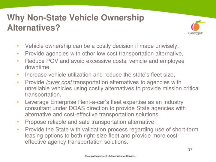 Why Non-State Vehicle Ownership Alternatives?