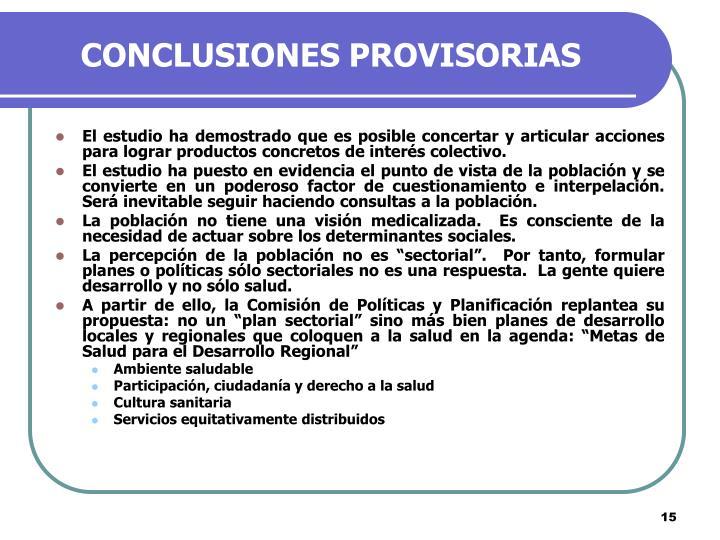 CONCLUSIONES PROVISORIAS