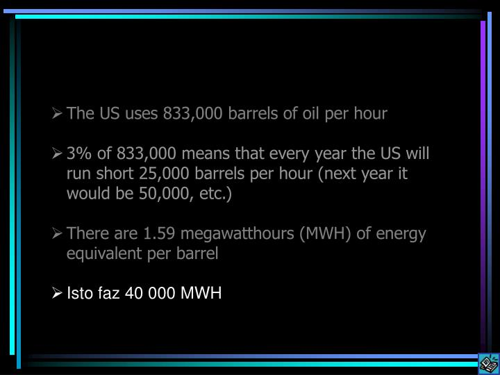 The US uses 833,000 barrels of oil per hour